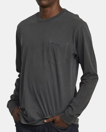 3 PTC Pigment Long Sleeve T-Shirt Black M467TRPT RVCA
