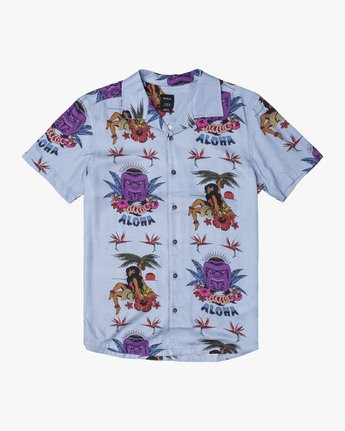 0 DMOTE TIKI BUTTON-UP SHIRT Blue M5011RDA RVCA