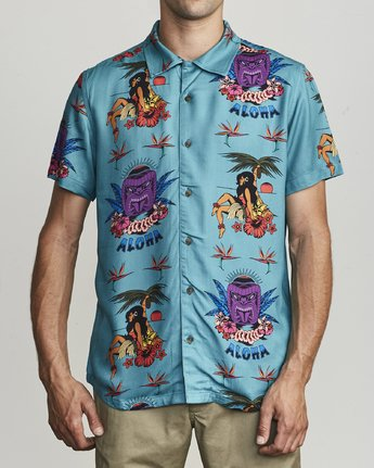 1 DMOTE TIKI BUTTON-UP SHIRT Blue M5011RDA RVCA
