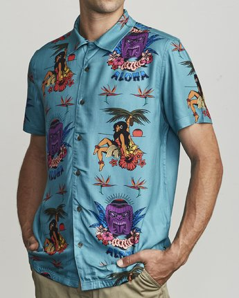3 DMOTE TIKI BUTTON-UP SHIRT Blue M5011RDA RVCA