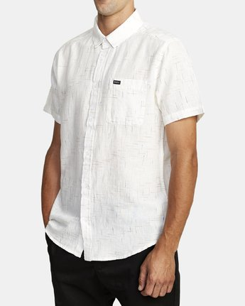 2 That'll Do Textured Button-Up Shirt White M501VRTT RVCA