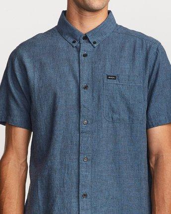 4 That'll Do Textured Button-Up Shirt Blue M501VRTT RVCA