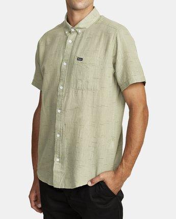 6 That'll Do Textured Button-Up Shirt Green M501VRTT RVCA