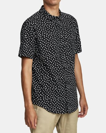 7 Costello Floral Button-Up Shirt Black M501WRCO RVCA