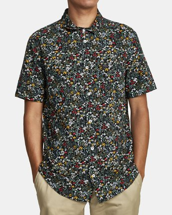 2 Costello Floral Button-Up Shirt Grey M501WRCO RVCA