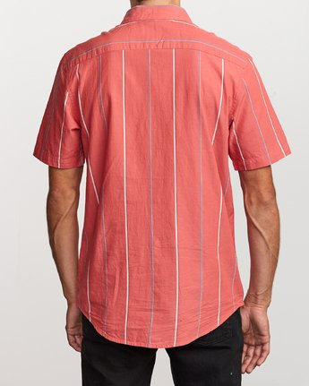 3 Hacienda Stripe Button-Up Shirt Pink M502VRHS RVCA