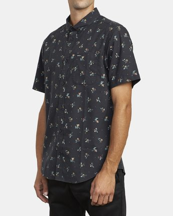 2 THAT'LL DO PRINT BUTTON-UP SHIRT Black M502VRTP RVCA