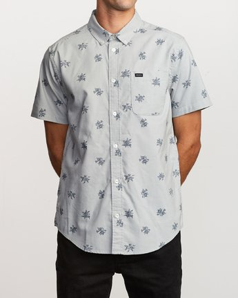 1 That'll Do Print Button-Up Shirt Green M502VRTP RVCA