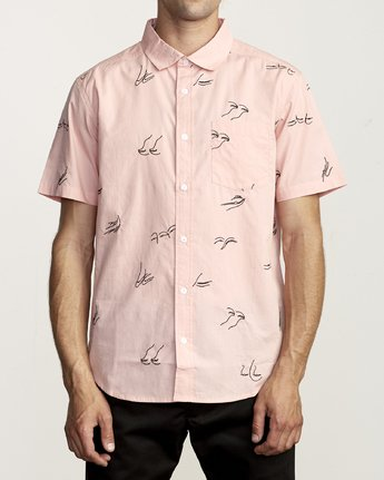 0 JOHANNA GESTURES BUTTON-UP SHIRT Pink M5031RJG RVCA