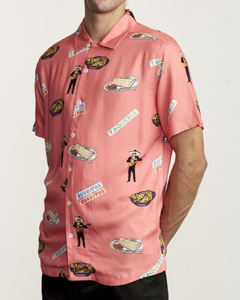 1 HOT FUDGE BUTTON-UP SHIRT Pink M5041RHF RVCA