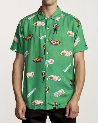 0 HOT FUDGE BUTTON-UP SHIRT Green M5041RHF RVCA