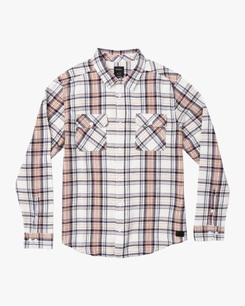 4 Avett Flannel Long Sleeve Shirt White M504VRAV RVCA