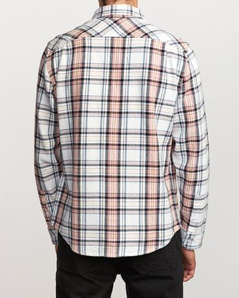 3 Avett Flannel Long Sleeve Shirt White M504VRAV RVCA