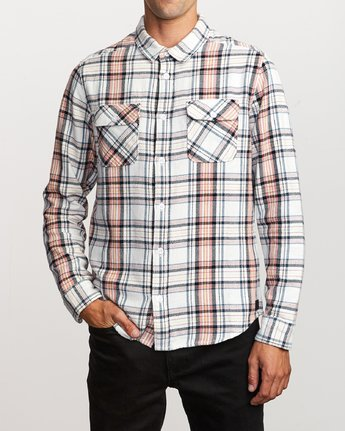 1 Avett Flannel Long Sleeve Shirt White M504VRAV RVCA