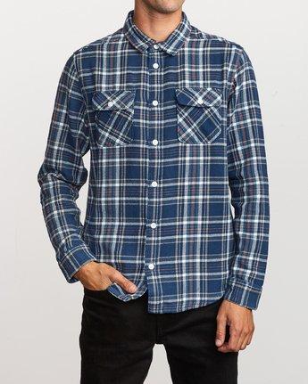 2 Avett Flannel Long Sleeve Shirt Blue M504VRAV RVCA