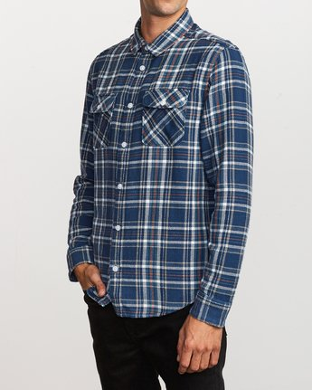 3 Avett Flannel Long Sleeve Shirt Blue M504VRAV RVCA