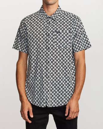 1 Greyscale Button-Up Shirt Black M505VRGS RVCA