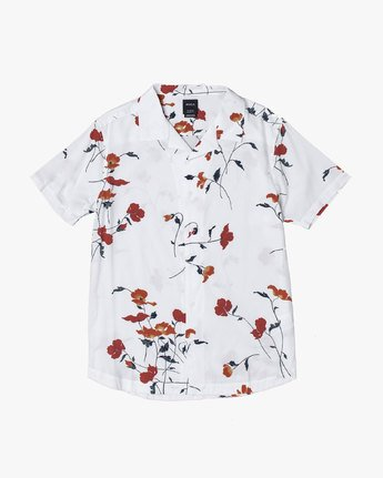 4 LAZARUS FLORAL BUTTON-UP SHIRT White M5061RLF RVCA