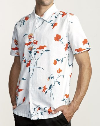 1 LAZARUS FLORAL BUTTON-UP SHIRT White M5061RLF RVCA