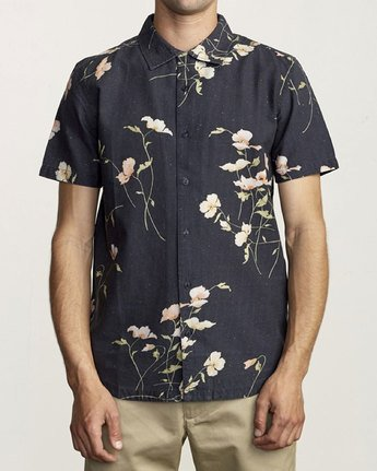1 LAZARUS FLORAL BUTTON-UP SHIRT Black M5061RLF RVCA
