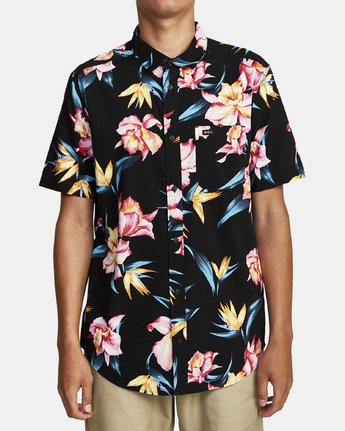 4 AKORA FLORAL SHORT SLEEVE SHIRT Black M5062RAK RVCA