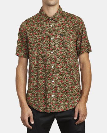 0 JUNGLE FUZZ SHORT SLEEVE SHIRT Beige M5083RJF RVCA