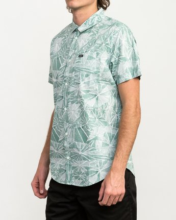 2 Blade Printed Button-Up Shirt Green M508QRBL RVCA
