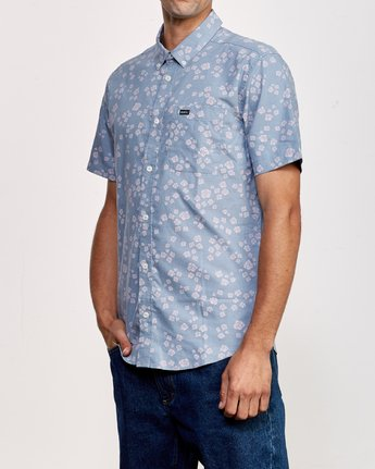 2 That'll Do Print Short Sleeve Shirt Blue M508TRTP RVCA