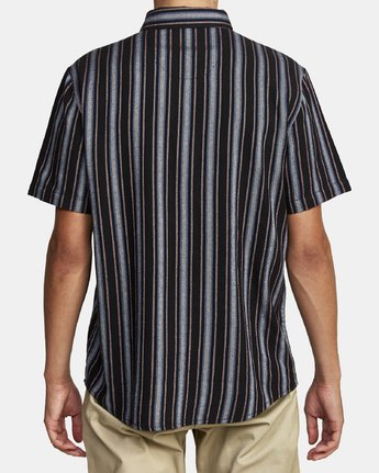 2 TOPPER STRIPE SHORT SLEEVE SHIRT Black M5092RTP RVCA