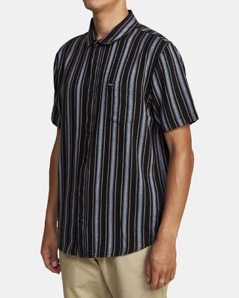 3 TOPPER STRIPE SHORT SLEEVE SHIRT Black M5092RTP RVCA