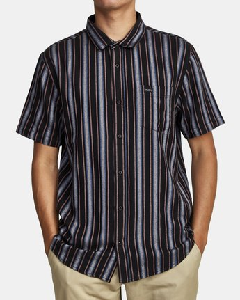 6 TOPPER STRIPE SHORT SLEEVE SHIRT Black M5092RTP RVCA