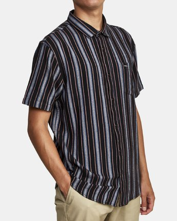 9 TOPPER STRIPE SHORT SLEEVE SHIRT Black M5092RTP RVCA