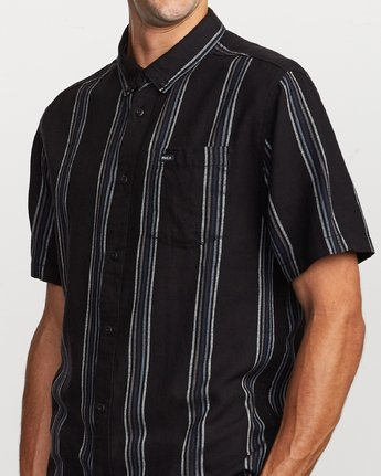 3 Split Stripe Button-Up Shirt Black M509VRSS RVCA