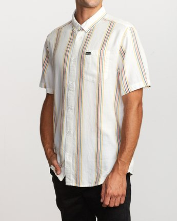 3 Split Stripe Button-Up Shirt White M509VRSS RVCA