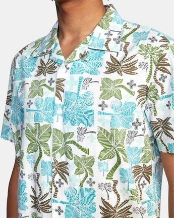2 Oblow Palms Short Sleeve Shirt White M5104ROP RVCA