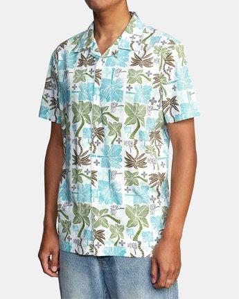 3 Oblow Palms Short Sleeve Shirt White M5104ROP RVCA