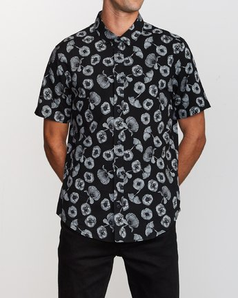 0 Peace Poppy Button-Up Shirt Black M510VRPP RVCA