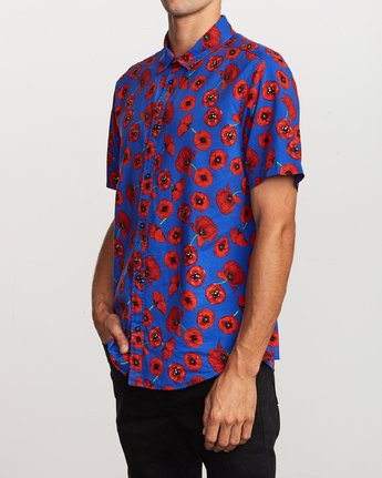 2 Peace Poppy Button-Up Shirt Red M510VRPP RVCA