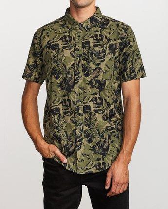 0 Leaf Camo Button-Up Shirt Black M512VRLC RVCA