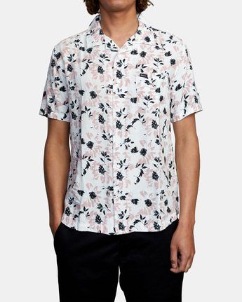2 Beat Print Short Sleeve Shirt White M5153RBS RVCA