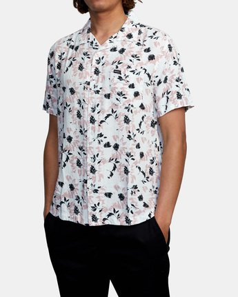4 Beat Print Short Sleeve Shirt White M5153RBS RVCA