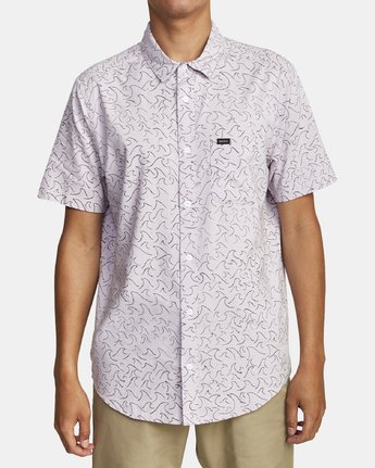 4 OBLOW WAVES SHORT SLEEVE SHIRT Blue M5172ROW RVCA