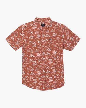 0 TROPICAL DISASTER SHORT SLEEVE SHIRT Red M5173RTD RVCA