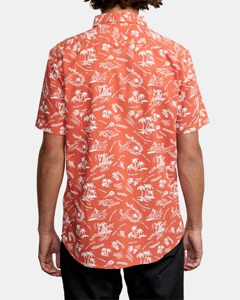 5 TROPICAL DISASTER SHORT SLEEVE SHIRT Red M5173RTD RVCA