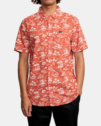 4 TROPICAL DISASTER SHORT SLEEVE SHIRT Red M5173RTD RVCA