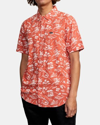 7 TROPICAL DISASTER SHORT SLEEVE SHIRT Red M5173RTD RVCA