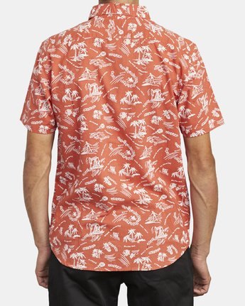 2 TROPICAL DISASTER SHORT SLEEVE SHIRT Red M5173RTD RVCA