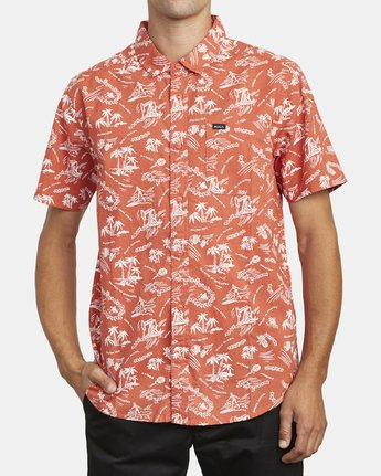 1 TROPICAL DISASTER SHORT SLEEVE SHIRT Red M5173RTD RVCA