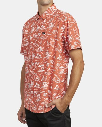 3 TROPICAL DISASTER SHORT SLEEVE SHIRT Red M5173RTD RVCA