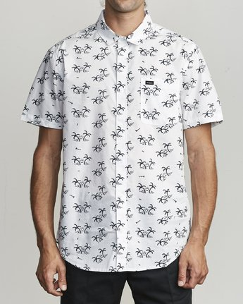 1 EASY PALMS BUTTON-UP SHIRT White M5191REP RVCA